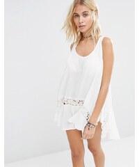 Surf Gypsy - Vêtement de plage avec insert crocheté - Blanc