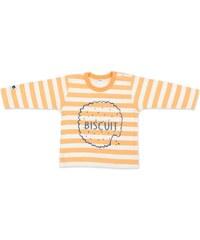 Pinokio Chlapecké pruhované tričko se sušenkou - oranžovo-bílé