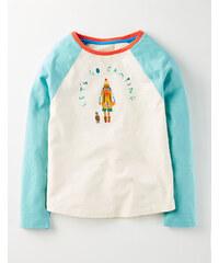 Baseball-T-Shirt mit Motiv Elfenbeinfarben Mädchen Boden