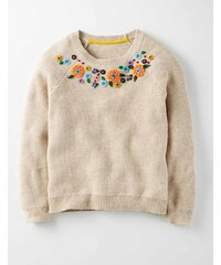 Pullover mit Herbstmotiv auf der Passe Beige Mädchen Boden