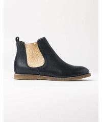 Chelsea-Stiefel aus Leder Navy Mädchen Boden