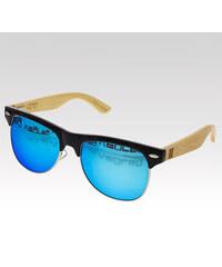 VeyRey dřevěné sluneční polarizační brýle Hyalos modrá skla.