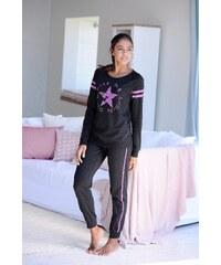 Große Größen: Buffalo Langer Pyjama im Sports-Look, schwarz/schwarz, Gr.32/34-44/46