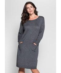 Große Größen: sheego Style Stickkleid in schlichtem Design, grau meliert, Gr.40-58