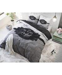 Sleeptime Parure housse de couette 140x200/220 cm + 1 taie d'oreiller 60x70 cm Perfect Couple - gris
