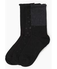 Esprit 3x ponožky s hvězdičkami, třpytivá příze