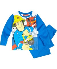 Feuerwehrmann Sam Pyjama blau in Größe 98 für Jungen aus 100% Baumwolle