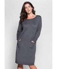 Damen Style Stickkleid in schlichtem Design SHEEGO STYLE grau 40,42,44,46,48,50,52,54,56,58