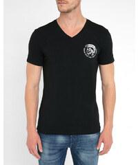 DIESEL Schwarzes T-Shirt mit V-Ausschnitt und Indianerkopf-Motiv Michael