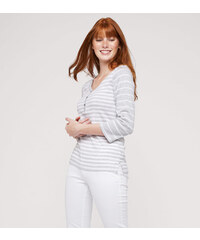 C&A Henley-Shirt aus Bio-Baumwolle in weiß / Grau