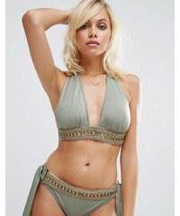 ASOS - Haut de bikini triangle dos nu à décolleté pigeonnant avec ceinture et ornements - Vert