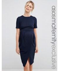 ASOS Maternity - Robe d'allaitement coupe patineuse en tissu texturé double épaisseur - Bleu