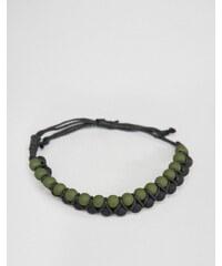 ASOS - Bracelet à perles en caoutchouc - Noir et kaki - Noir
