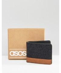 ASOS - Melton-Geldbörse mit Kontrastakzent - Schwarz
