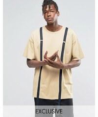Reclaimed Vintage - T-shirt oversize à lanières fantaisie - Fauve