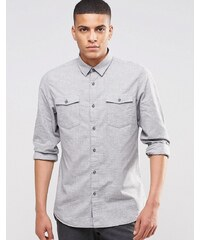Selected Homme - Chemise à deux poches et effet brossé - Gris