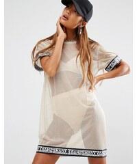Shade London - T-Shirt-Kleid aus transparentem Netzstoff - Beige