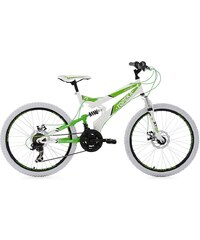 KS Cycling Kinder-MTB, 24 Zoll, Shimano Tourney 21 Gang-Kettenschaltung, weiß-grün, »Topeka«