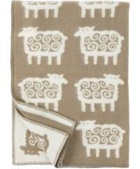 Klippan, Švédsko Vlněná dětská deka Sheep beige 90 x 130 cm Béžová
