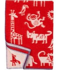 Klippan, Švédsko Vlněná dětská deka Jungle red 90 x 130 cm Červená