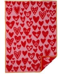Klippan, Švédsko Vlněná dětská deka Baby heart pink 65 x 90 cm Růžová