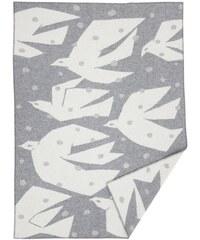 Klippan, Švédsko Vlněná deka Trip grey 130 x 180 cm Světle šedá / Bílá