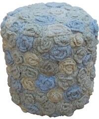 Sharda, India Taburet Flowers round Ivory Blue