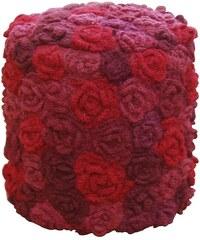 Sharda, India Taburet Flowers round Red Wine