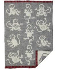 Klippan, Švédsko Vlněná dětská deka Monkey grey 65 x 90 cm Světle šedá