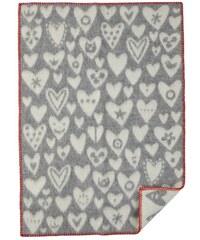 Klippan, Švédsko Vlněná dětská deka Baby heart grey 65 x 90 cm Šedá