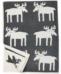 Klippan, Švédsko Bavlněná deka chenille Moose dark grey 140 x 180 cm Tmavě šedá