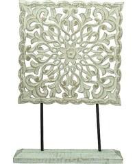 KERSTEN - Dekorace MDF, ruční výroba, bílá patina, 38x8x55cm (LEV-4700)
