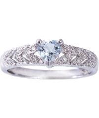 KLENOTA Srdíčkový prsten s akvamarínem a diamanty