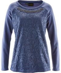 bpc selection premium Sweatshirt mit Spitze langarm in blau für Damen von bonprix
