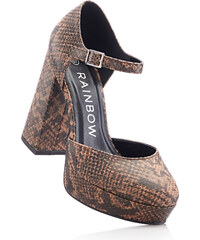 BODYFLIRT Sandalette mit 13 cm Blockabsatz in braun von bonprix