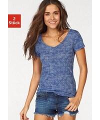 Damen V-Shirts (2 Stück) in Melange-Optik Beachtime Farb-Set 32/34,36/38,40/42,44/46,48/50,52/54