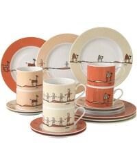 CreaTable Kaffeeservice Porzellan 18 Teile ROMA NATURE braun