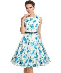 002 Dámské retro šaty bílé BLUE FLOWERS
