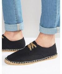 ASOS - Espadrilles en toile façon chaussures derby - Noir - Noir