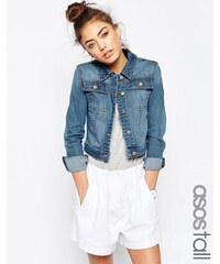 ASOS TALL - Veste en jean coupe rétrécie - Délavé bleu moyen - Bleu