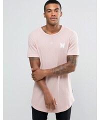 Good For Nothing - Geripptes T-Shirt mit kleinem Logo - Rosa