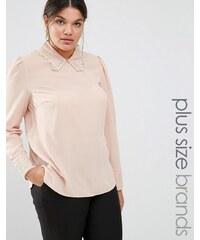Lovedrobe - Gewebte Bluse mit Häkelspitzenbesatz - Beige