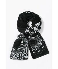Desigual černo-bílý šátek Geofresh Mixto