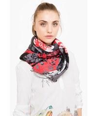 Desigual černo-červený šátek Rectangle Kisses