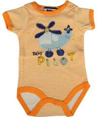 Sport Baby Pilot dětské body oranžová 0-3 měs
