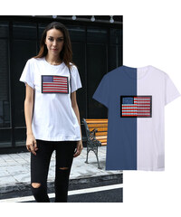 Lesara LED-T-Shirt USA-Flagge - S