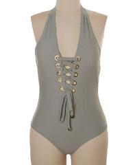 Lesara Neckholder-Badeanzug mit Schnürung - Grau - S