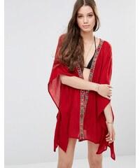 Anmol - Kimono mit Bindeband vorn und spiegelverzierter Bordüre - Rot