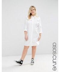 ASOS CURVE - Hemdkleid aus Baumwolle mit Rüschenbesatz - Weiß