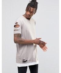 ASOS - Long t-shirt effet troué et déchiré avec ourlet contrasté - Gris - Gris